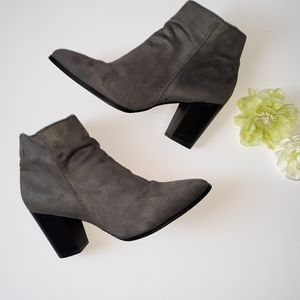 Diba Gray Suede Ankle Booties